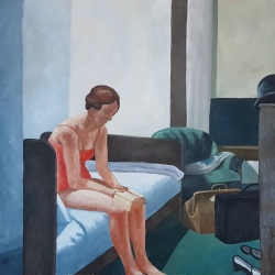 "Retelling of ""Hotel Room"" by Edward Hopper.  Oil on Paper, 2019, Alice Redaelli."