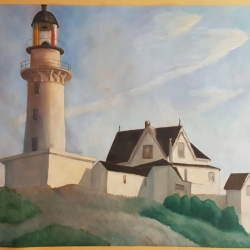 "Retelling of ""The lighthouse at two lights""  by Edward Hopper. Oil on paper, 2019, Alice Redaelli."