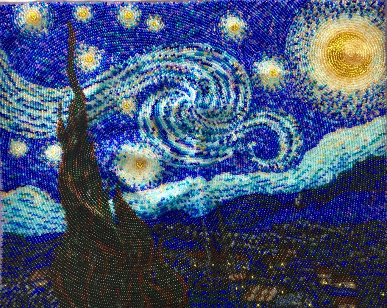 Starry night. picture embroidered wit...